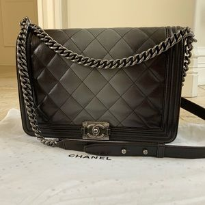 Chanel Black & Grey Ombré Large Boy  Bag